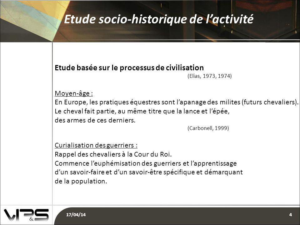 Etude basée sur le processus de civilisation (Elias, 1973, 1974) Moyen-âge : En Europe, les pratiques équestres sont l'apanage des milites (futurs chevaliers).