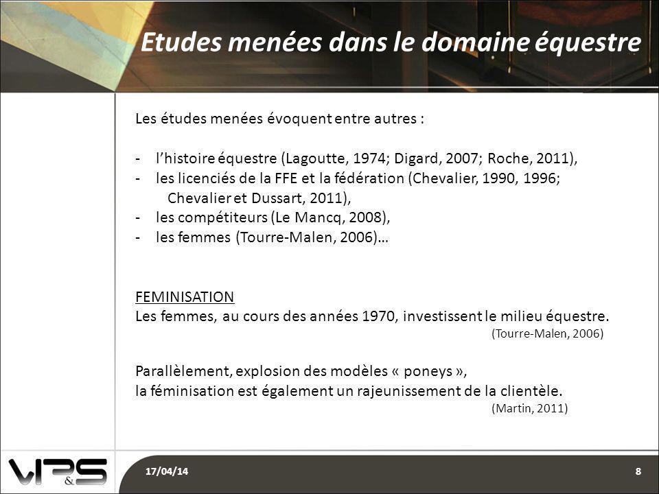 Les études menées évoquent entre autres : -l'histoire équestre (Lagoutte, 1974; Digard, 2007; Roche, 2011), -les licenciés de la FFE et la fédération (Chevalier, 1990, 1996; Chevalier et Dussart, 2011), -les compétiteurs (Le Mancq, 2008), -les femmes (Tourre-Malen, 2006)… FEMINISATION Les femmes, au cours des années 1970, investissent le milieu équestre.