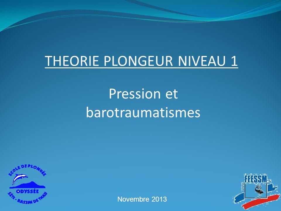 Pression et barotraumatismes THEORIE PLONGEUR NIVEAU 1 Novembre 2013