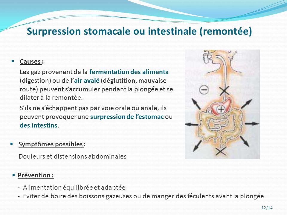 12/14 Surpression stomacale ou intestinale (remontée)  Causes : Les gaz provenant de la fermentation des aliments (digestion) ou de l'air avalé (dégl