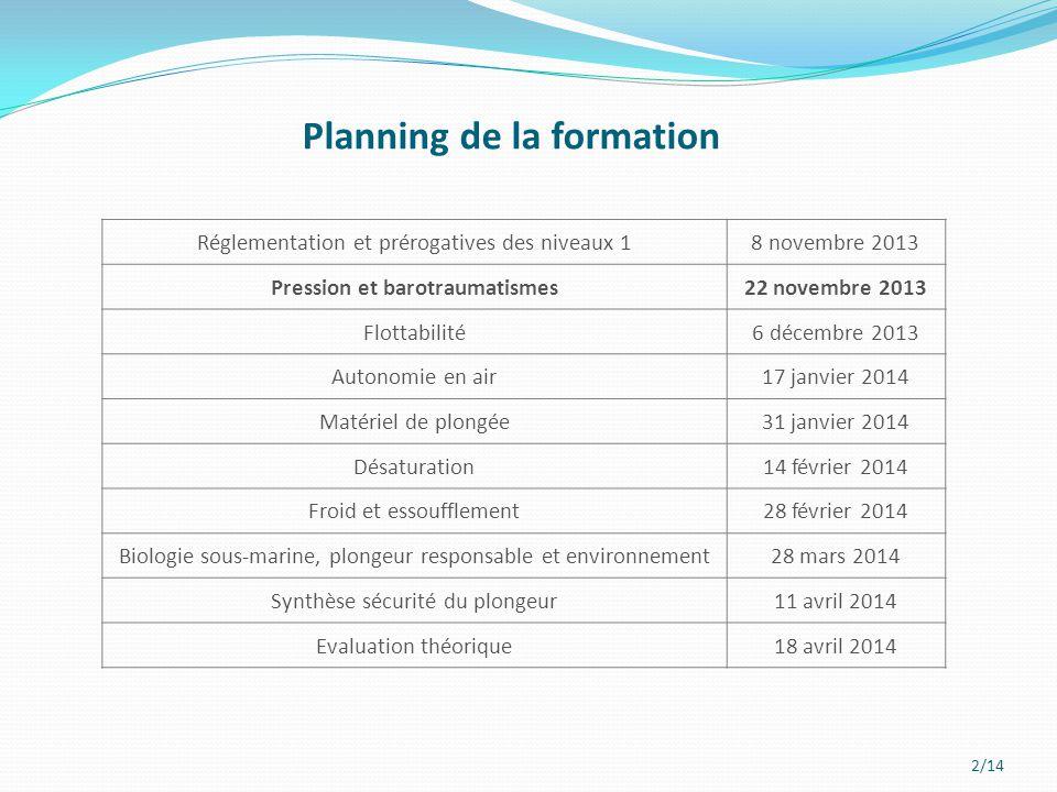 2/14 Planning de la formation Réglementation et prérogatives des niveaux 18 novembre 2013 Pression et barotraumatismes22 novembre 2013 Flottabilité6 d