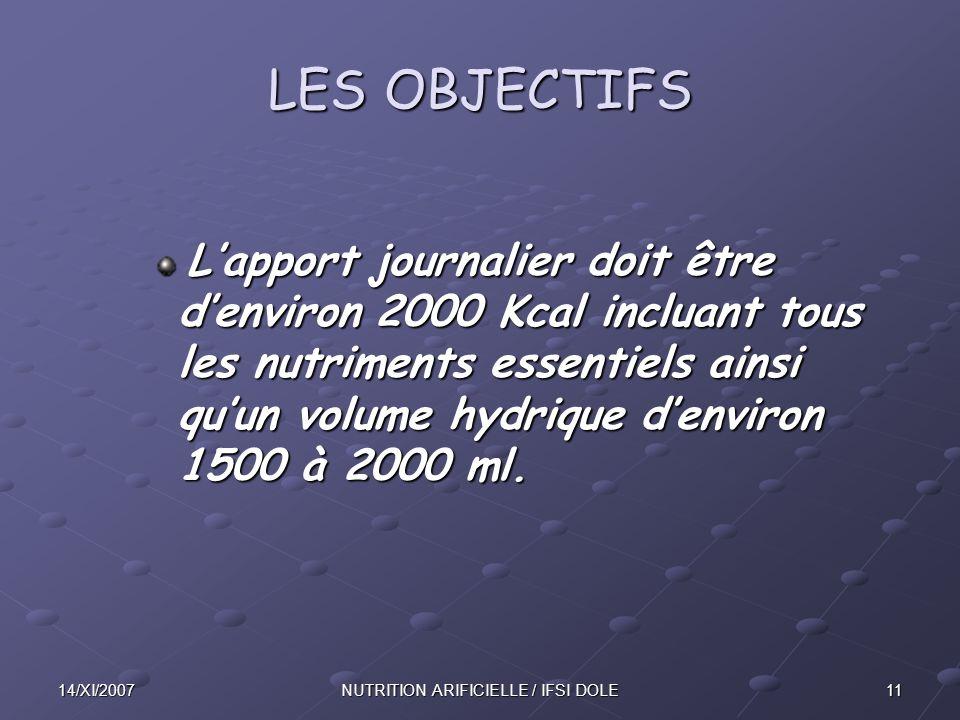1114/XI/2007NUTRITION ARIFICIELLE / IFSI DOLE LES OBJECTIFS L'apport journalier doit être d'environ 2000 Kcal incluant tous les nutriments essentiels ainsi qu'un volume hydrique d'environ 1500 à 2000 ml.