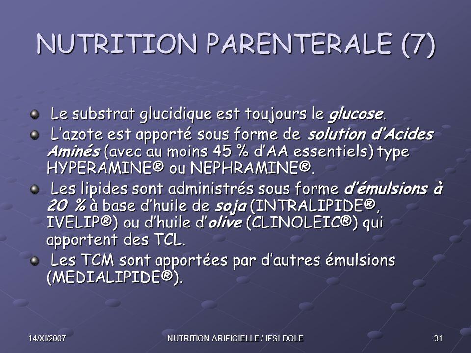 3114/XI/2007NUTRITION ARIFICIELLE / IFSI DOLE NUTRITION PARENTERALE (7) Le substrat glucidique est toujours le glucose.
