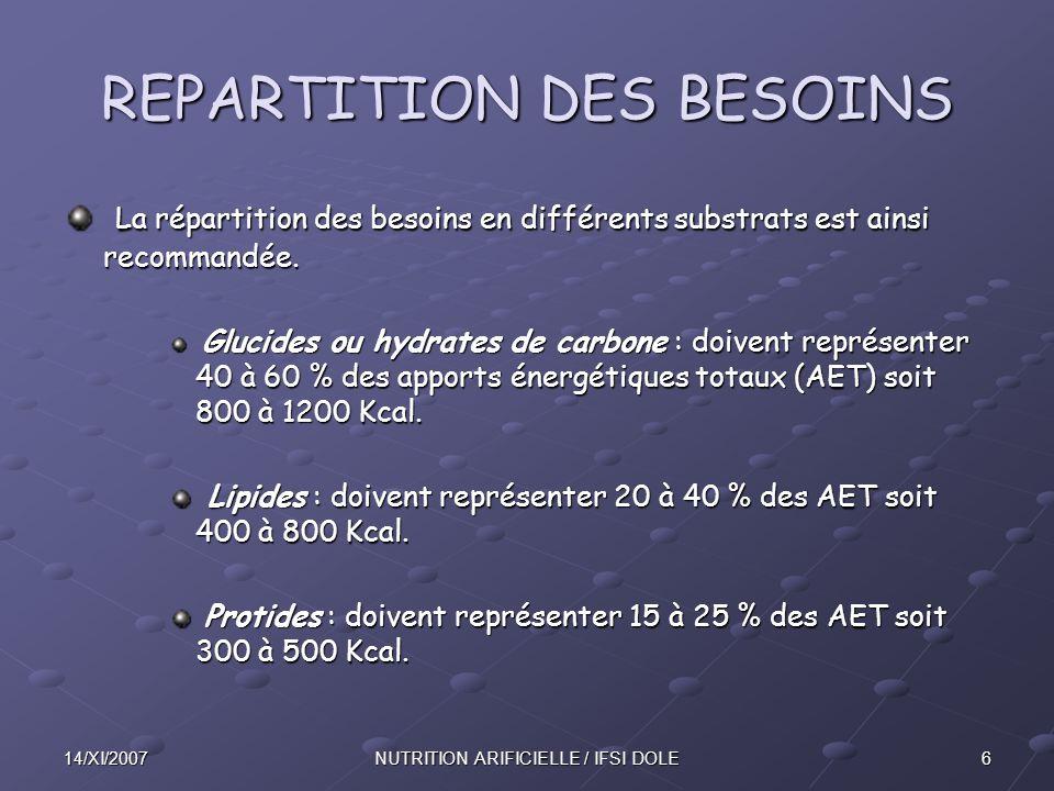 614/XI/2007NUTRITION ARIFICIELLE / IFSI DOLE REPARTITION DES BESOINS La répartition des besoins en différents substrats est ainsi recommandée.