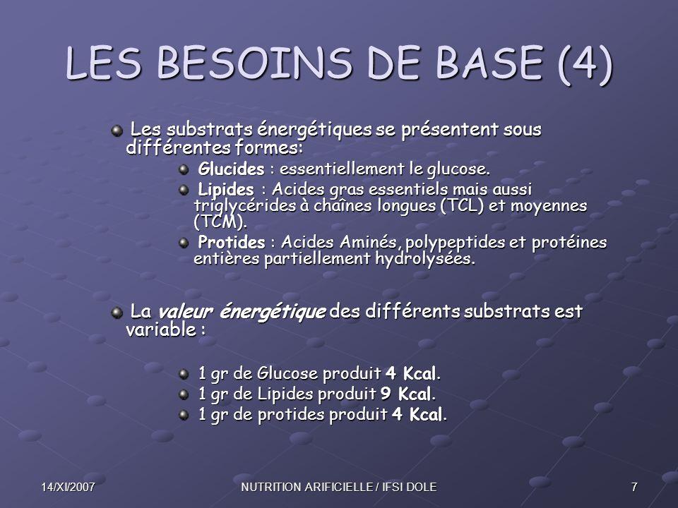 714/XI/2007NUTRITION ARIFICIELLE / IFSI DOLE LES BESOINS DE BASE (4) Les substrats énergétiques se présentent sous différentes formes: Les substrats énergétiques se présentent sous différentes formes: Glucides : essentiellement le glucose.
