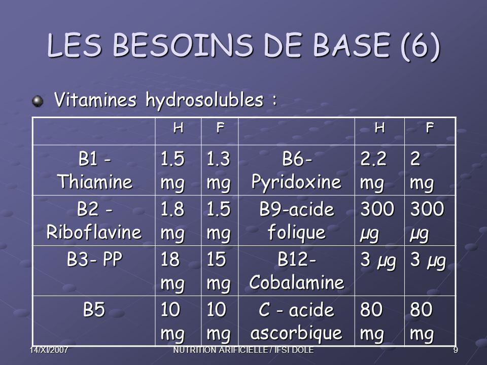 1014/XI/2007NUTRITION ARIFICIELLE / IFSI DOLE LES BESOINS DE BASE (7) L'eau et les sels minéraux doivent être pris en compte lors de la prescription.