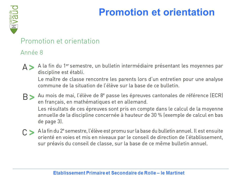 14 Etablissement Primaire et Secondaire de Rolle – le Martinet Promotion et orientation