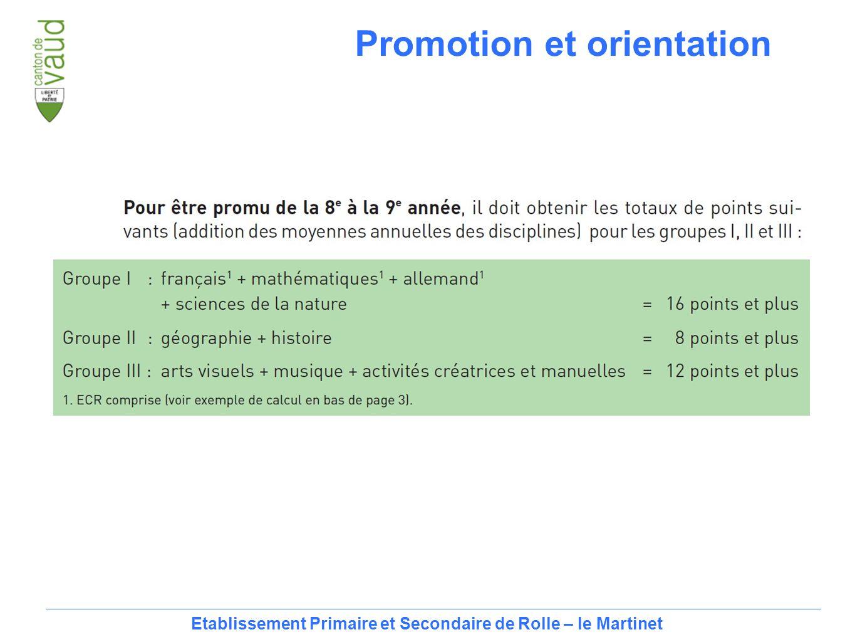 15 Etablissement Primaire et Secondaire de Rolle – le Martinet Promotion et orientation