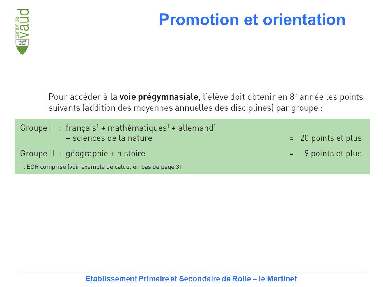 16 Etablissement Primaire et Secondaire de Rolle – le Martinet Promotion et orientation