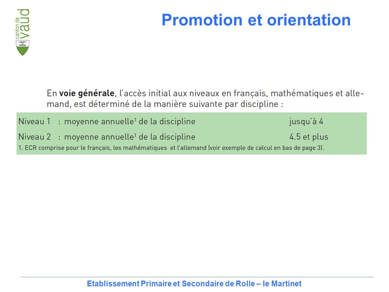 17 Etablissement Primaire et Secondaire de Rolle – le Martinet Promotion et orientation