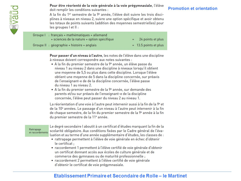 21 Etablissement Primaire et Secondaire de Rolle – le Martinet Promotion et orientation