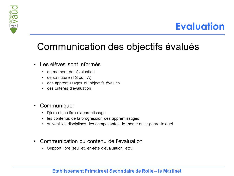 8 Les élèves sont informés du moment de l'évaluation de sa nature (TS ou TA) des apprentissages ou objectifs évalués des critères d'évaluation Communiquer l'(les) objectif(s) d'apprentissage les contenus de la progression des apprentissages suivant les disciplines, les composantes, le thème ou le genre textuel Communication du contenu de l'évaluation Support libre (feuillet, en-tête d'évaluation, etc.).