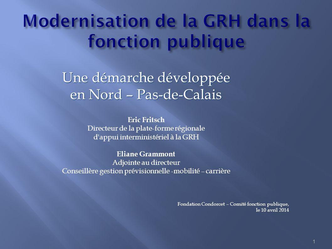 1 Une démarche développée en Nord – Pas-de-Calais Eric Fritsch Directeur de la plate-forme régionale d'appui interministériel à la GRH Eliane Grammont