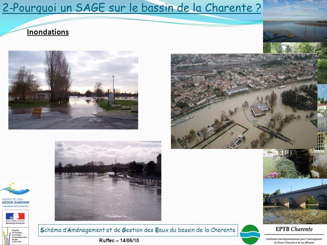 Schéma d'Aménagement et de Gestion des Eaux du bassin de la Charente Ruffec – 14/06/10 Inondations 2-Pourquoi un SAGE sur le bassin de la Charente ?