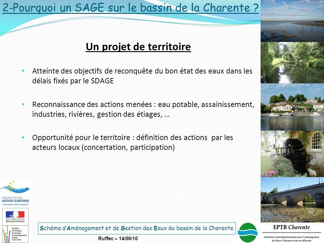 Schéma d'Aménagement et de Gestion des Eaux du bassin de la Charente Ruffec – 14/06/10 Un projet de territoire Atteinte des objectifs de reconquête du