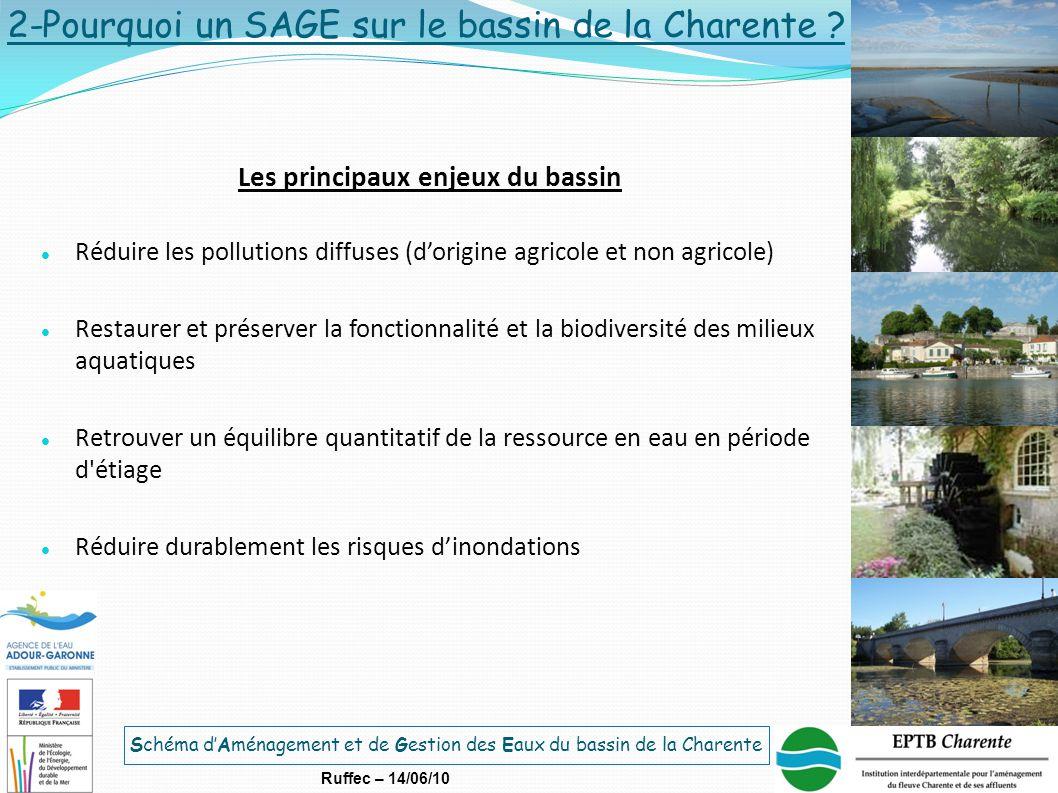 Schéma d'Aménagement et de Gestion des Eaux du bassin de la Charente Ruffec – 14/06/10 Les principaux enjeux du bassin Réduire les pollutions diffuses