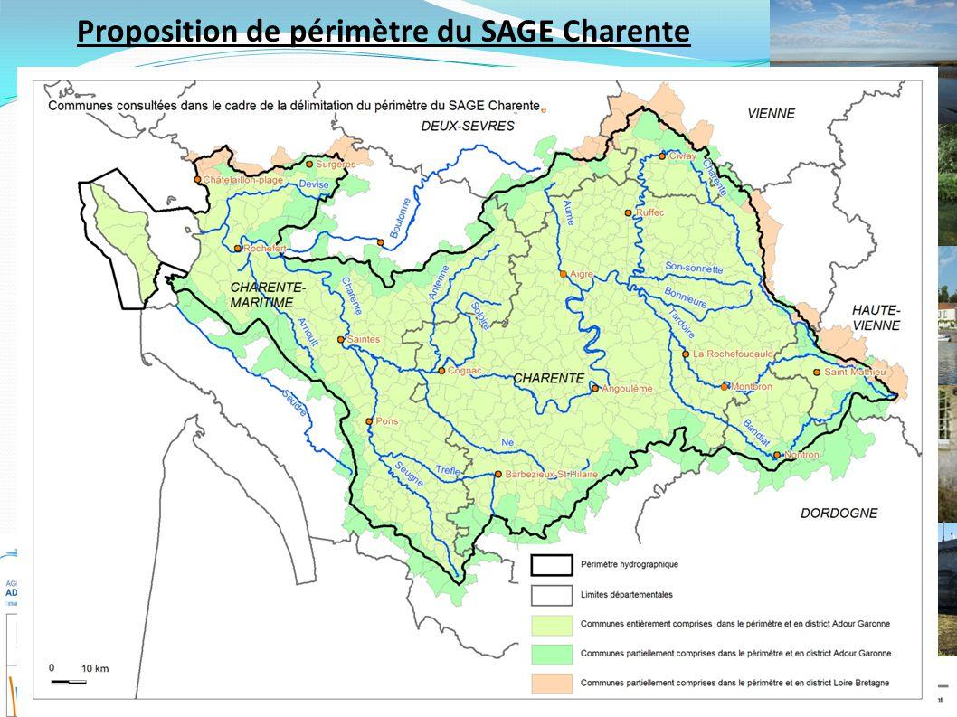 Schéma d'Aménagement et de Gestion des Eaux du bassin de la Charente Ruffec – 14/06/10 Proposition de périmètre du SAGE Charente