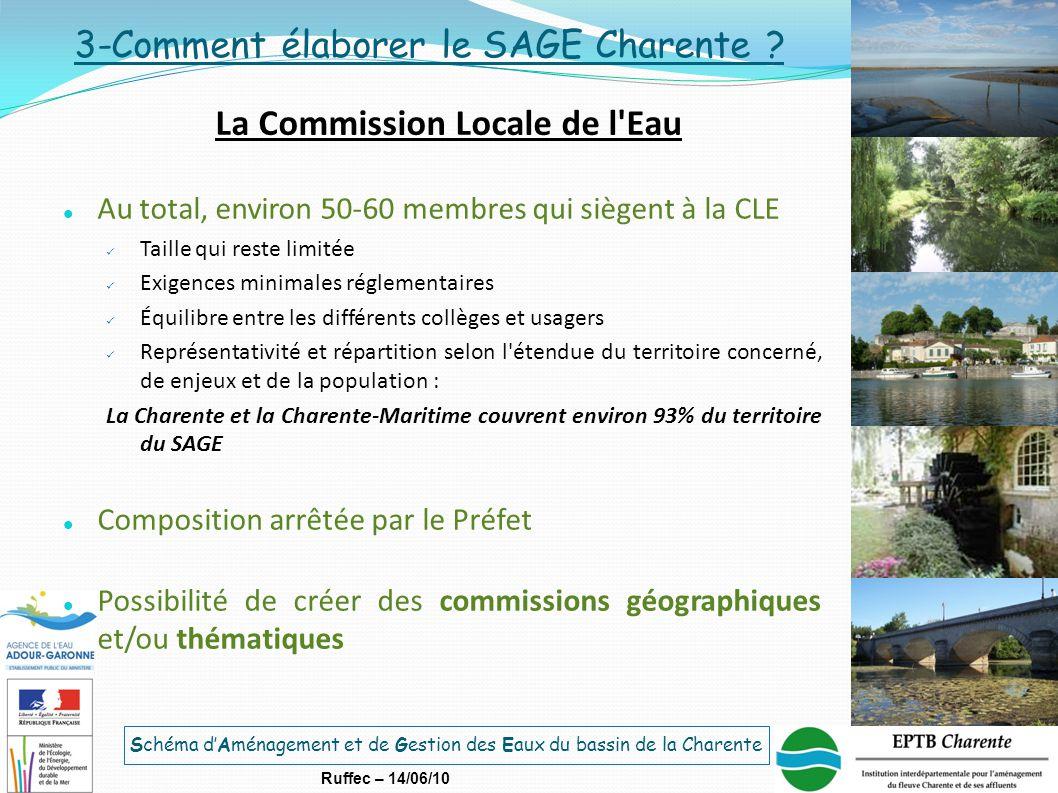 Schéma d'Aménagement et de Gestion des Eaux du bassin de la Charente Ruffec – 14/06/10 Au total, environ 50-60 membres qui siègent à la CLE Taille qui