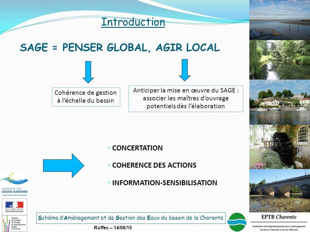 Schéma d'Aménagement et de Gestion des Eaux du bassin de la Charente Ruffec – 14/06/10 SAGE = PENSER GLOBAL, AGIR LOCAL Cohérence de gestion à l'échel