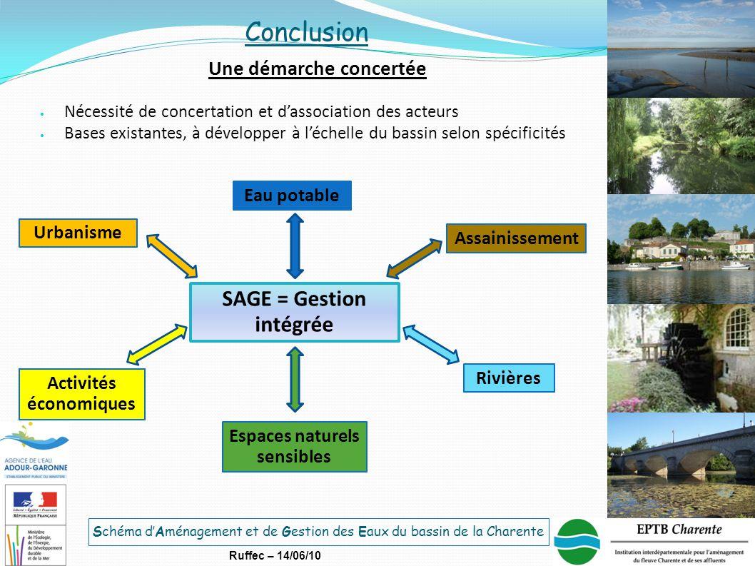 Schéma d'Aménagement et de Gestion des Eaux du bassin de la Charente Ruffec – 14/06/10 Conclusion Une démarche concertée Nécessité de concertation et