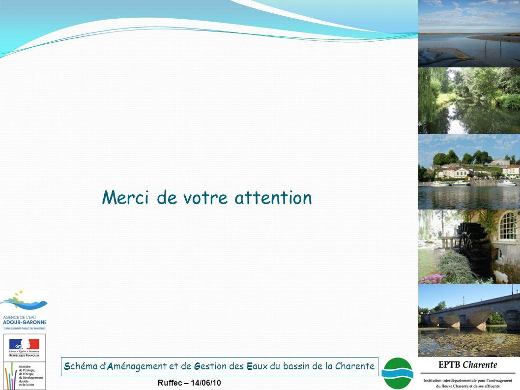 Schéma d'Aménagement et de Gestion des Eaux du bassin de la Charente Ruffec – 14/06/10 Merci de votre attention