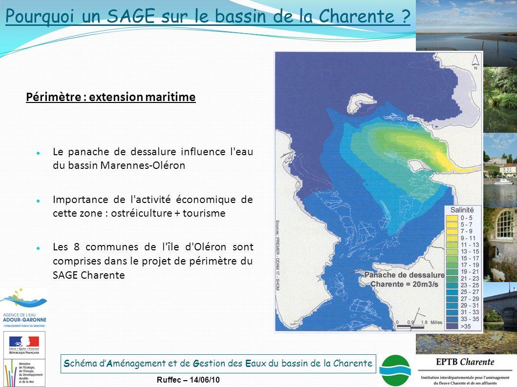 Schéma d'Aménagement et de Gestion des Eaux du bassin de la Charente Ruffec – 14/06/10 Périmètre : extension maritime Le panache de dessalure influenc