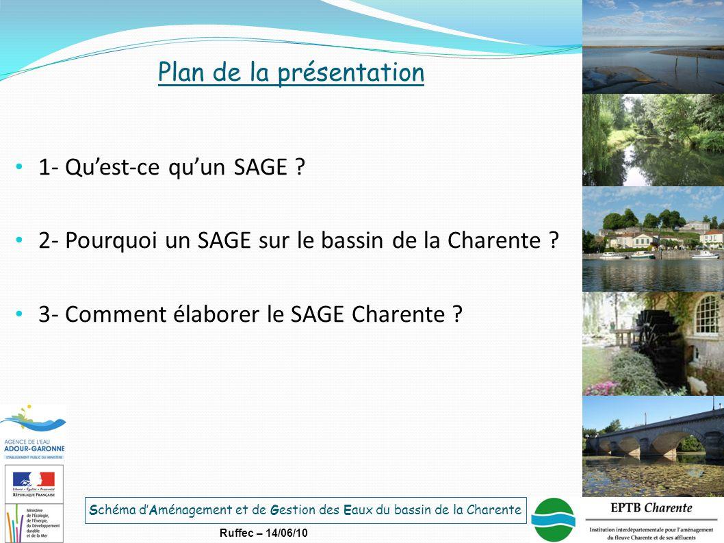 Schéma d'Aménagement et de Gestion des Eaux du bassin de la Charente Ruffec – 14/06/10 Plan de la présentation 1- Qu'est-ce qu'un SAGE ? 2- Pourquoi u