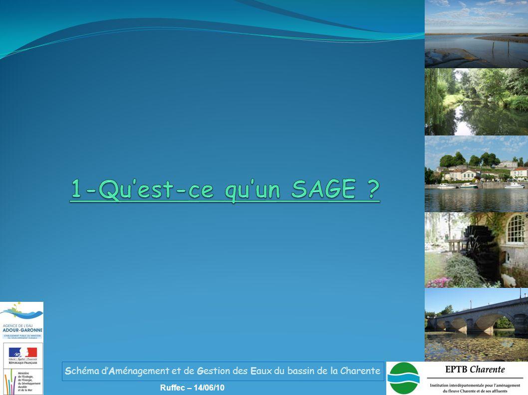 Schéma d'Aménagement et de Gestion des Eaux du bassin de la Charente Ruffec – 14/06/10 Contexte de la révision de la politique de l'eau dans le bassin La directive cadre sur l'eau (DCE), la loi sur l'eau et les milieux aquatiques et les conclusions du Grenelle ont conduit le comité de bassin à réviser la politique de l'eau d'Adour-Garonne Le SDAGE et le programme de mesures (PDM) intègrent les objectifs européens (DCE), nationaux (dont ceux du Grenelle) et spécifiques au bassin Entre 2004 et 2009, les acteurs du bassin ont élaboré le SDAGE et le PDM 2010-2015 : le bassin dispose d'un nouveau Schéma Directeur d'Aménagement et de Gestion des Eaux et du PDM associé Etat des lieux 2004 Orientations du SDAGE 2005 Révision SDAGE -PDM 2015 Arrêté SDAGE et PDM 17 déc 2009 1-Qu'est-ce qu' un SAGE ?