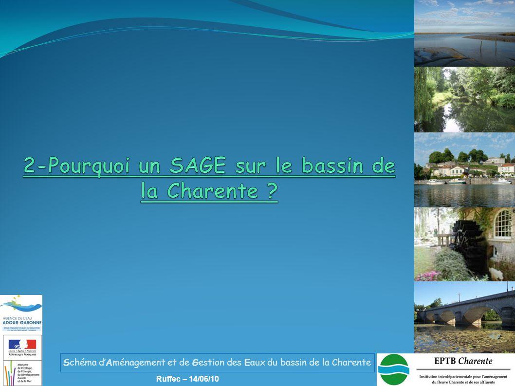 Schéma d'Aménagement et de Gestion des Eaux du bassin de la Charente Ruffec – 14/06/10 Avril-Août 2010 Consultation périmètre 2015 Phase de mise en œuvre Phase préliminaire Phase d'élaboration