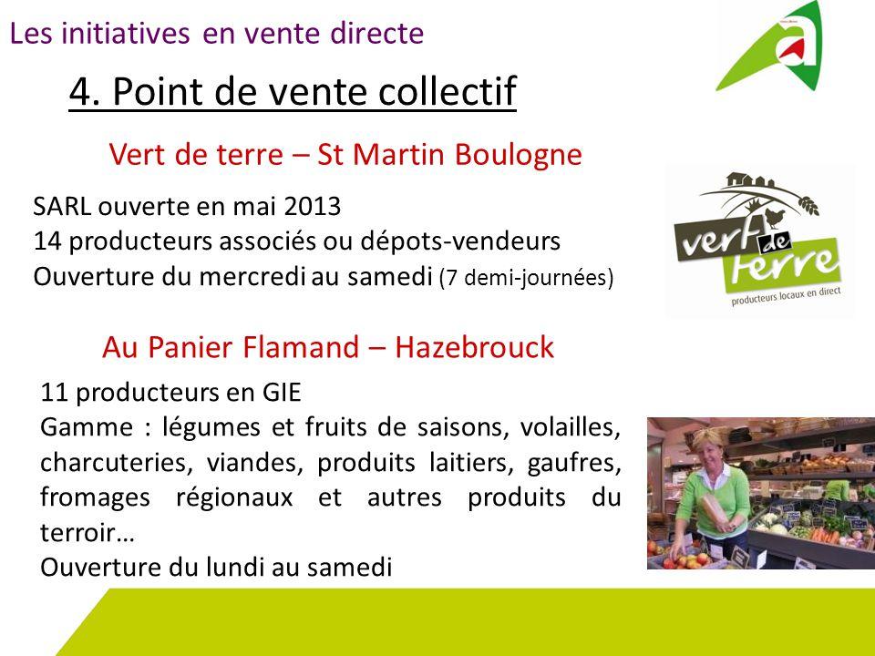 Les initiatives en vente directe 4. Point de vente collectif SARL ouverte en mai 2013 14 producteurs associés ou dépots-vendeurs Ouverture du mercredi