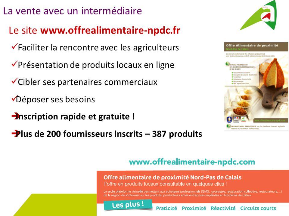 La vente avec un intermédiaire Le site www.offrealimentaire-npdc.fr Faciliter la rencontre avec les agriculteurs Présentation de produits locaux en ligne Cibler ses partenaires commerciaux Déposer ses besoins  Inscription rapide et gratuite .