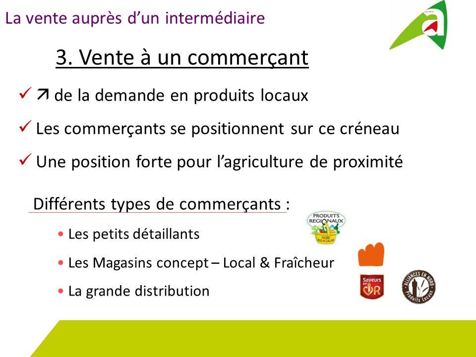 La vente auprès d'un intermédiaire 3. Vente à un commerçant Différents types de commerçants : Les petits détaillants Les Magasins concept – Local & Fr
