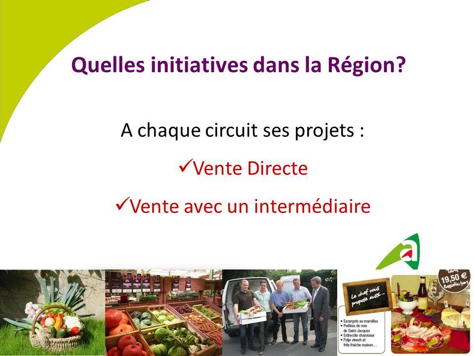 Quelles initiatives dans la Région? A chaque circuit ses projets : Vente Directe Vente avec un intermédiaire
