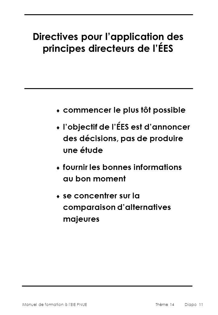 Manuel de formation à l'EIE PNUEThème 14Diapo 11  commencer le plus tôt possible  l'objectif de l'ÉES est d'annoncer des décisions, pas de produire