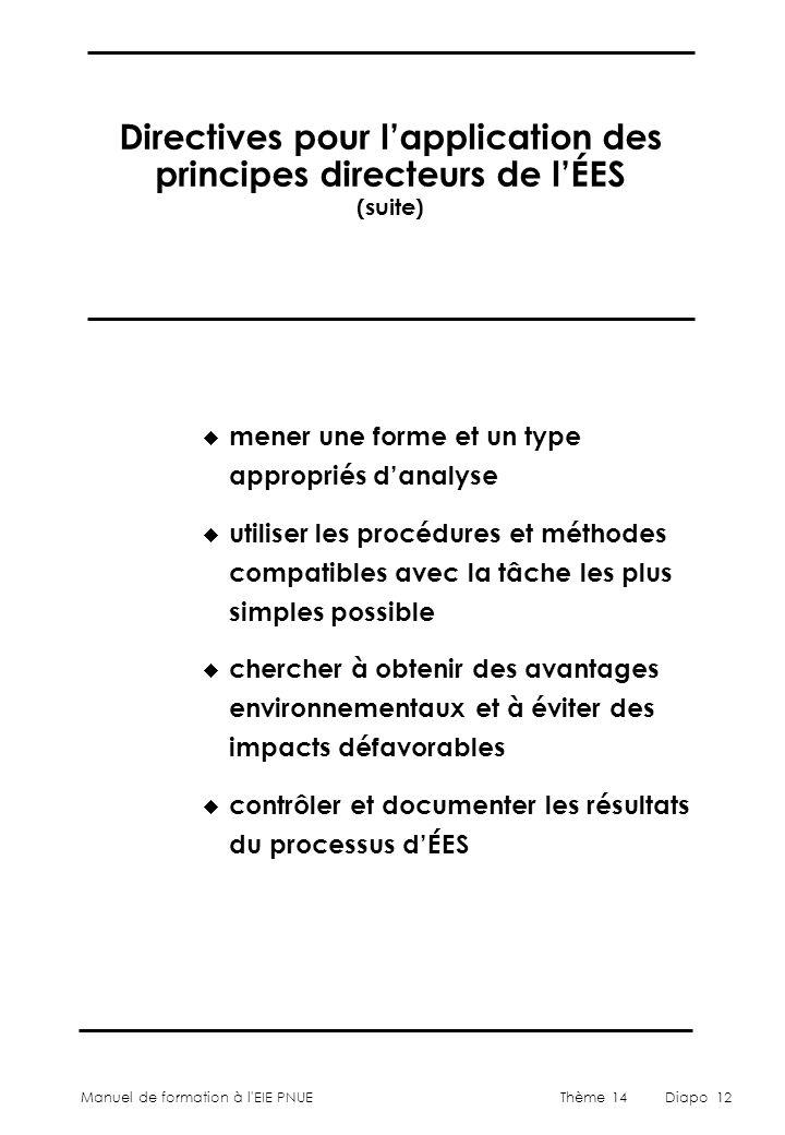Manuel de formation à l'EIE PNUEThème 14Diapo 12 Directives pour l'application des principes directeurs de l'ÉES (suite)  mener une forme et un type