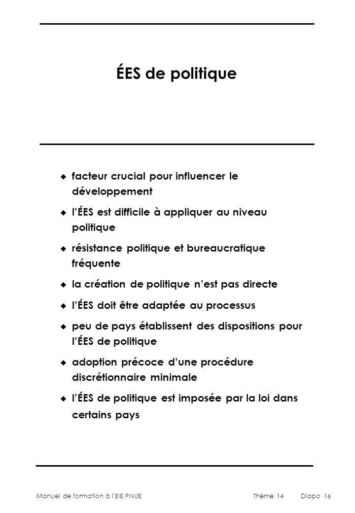 Manuel de formation à l'EIE PNUEThème 14Diapo 16 ÉES de politique  facteur crucial pour influencer le développement  l'ÉES est difficile à appliquer