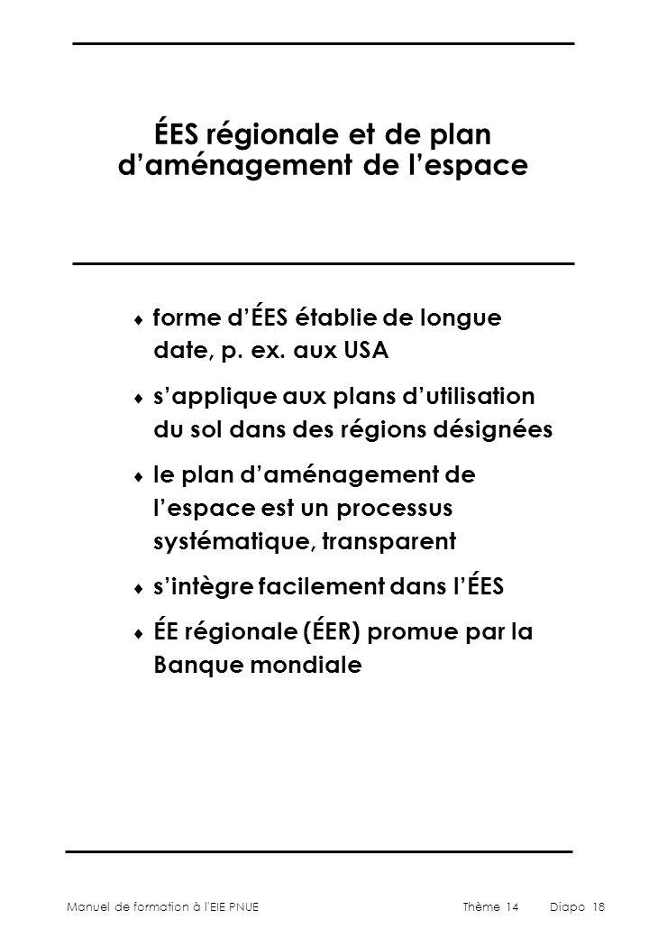 Manuel de formation à l'EIE PNUEThème 14Diapo 18 ÉES régionale et de plan d'aménagement de l'espace  forme d'ÉES établie de longue date, p. ex. aux U