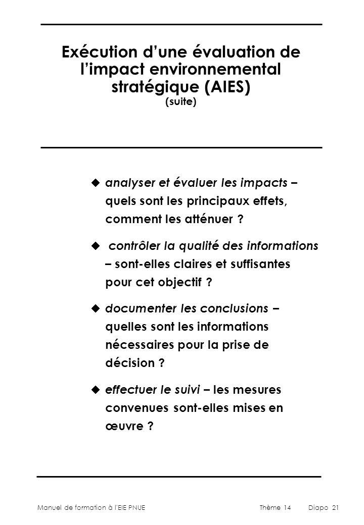 Manuel de formation à l'EIE PNUEThème 14Diapo 21 Exécution d'une évaluation de l'impact environnemental stratégique (AIES) (suite)  analyser et évalu