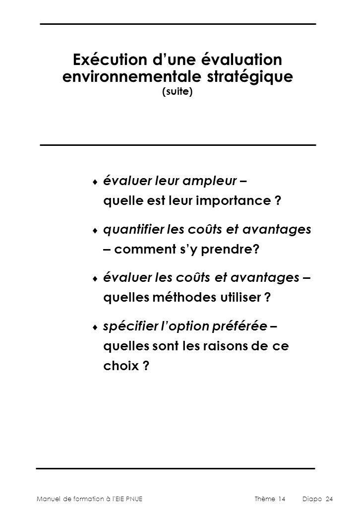 Manuel de formation à l'EIE PNUEThème 14Diapo 24 Exécution d'une évaluation environnementale stratégique (suite)  évaluer leur ampleur – quelle est l