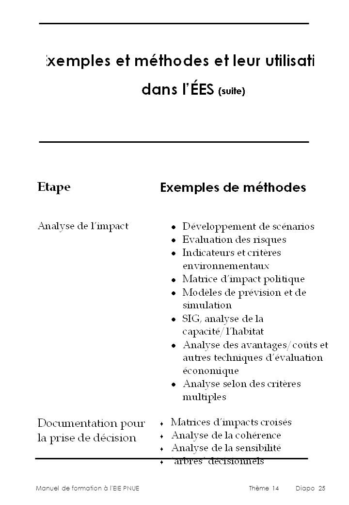 Manuel de formation à l'EIE PNUEThème 14Diapo 25