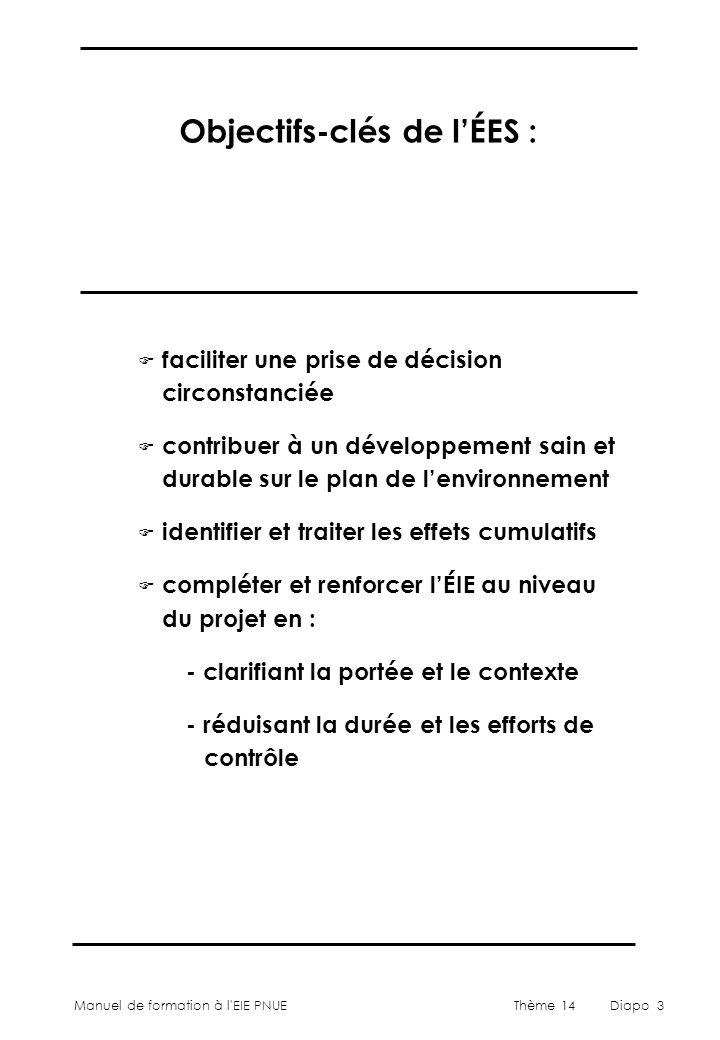 Manuel de formation à l'EIE PNUEThème 14Diapo 3 Objectifs-clés de l'ÉES : F faciliter une prise de décision circonstanciée F contribuer à un développe