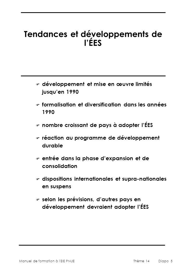 Manuel de formation à l'EIE PNUEThème 14Diapo 5 Tendances et développements de l'ÉES F développement et mise en œuvre limités jusqu'en 1990 F formalis