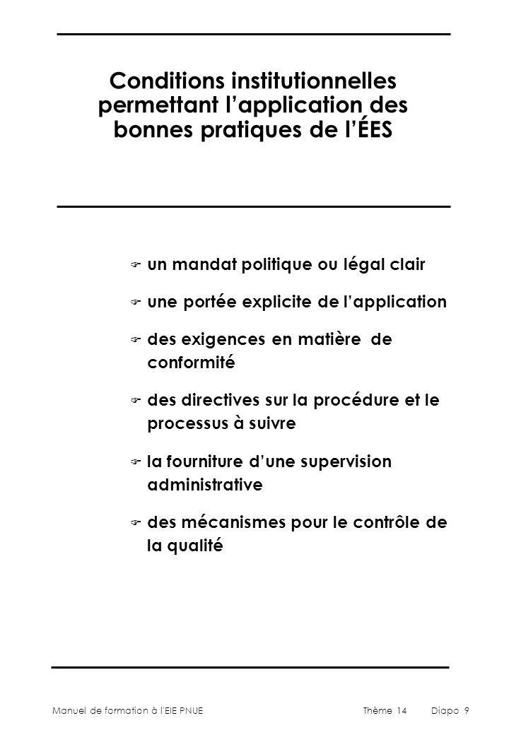 Manuel de formation à l'EIE PNUEThème 14Diapo 9 Conditions institutionnelles permettant l'application des bonnes pratiques de l'ÉES F un mandat politi