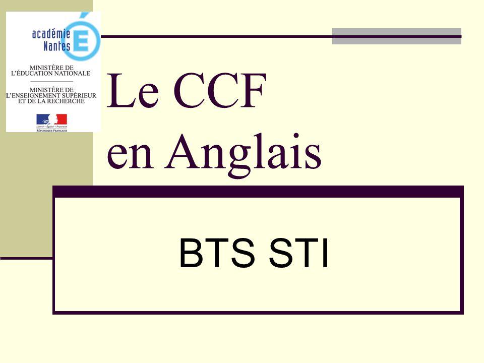 Le CCF en Anglais BTS STI