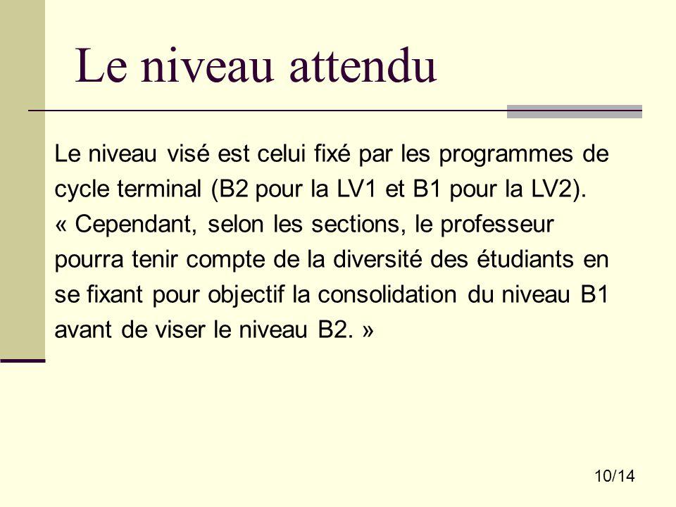 Le niveau attendu 10/14 Le niveau visé est celui fixé par les programmes de cycle terminal (B2 pour la LV1 et B1 pour la LV2). « Cependant, selon les