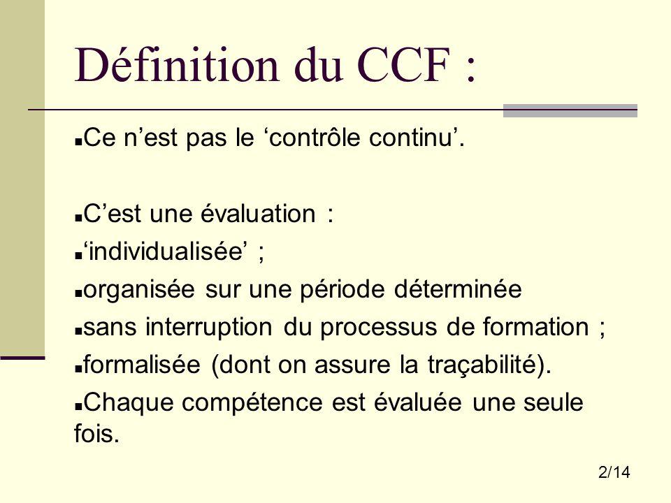 2/14 Définition du CCF : Ce n'est pas le 'contrôle continu'. C'est une évaluation : 'individualisée' ; organisée sur une période déterminée sans inter