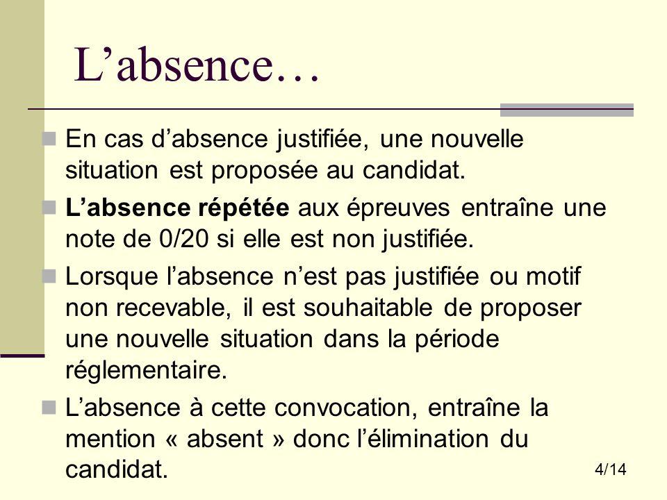 4/14 L'absence… En cas d'absence justifiée, une nouvelle situation est proposée au candidat. L'absence répétée aux épreuves entraîne une note de 0/20