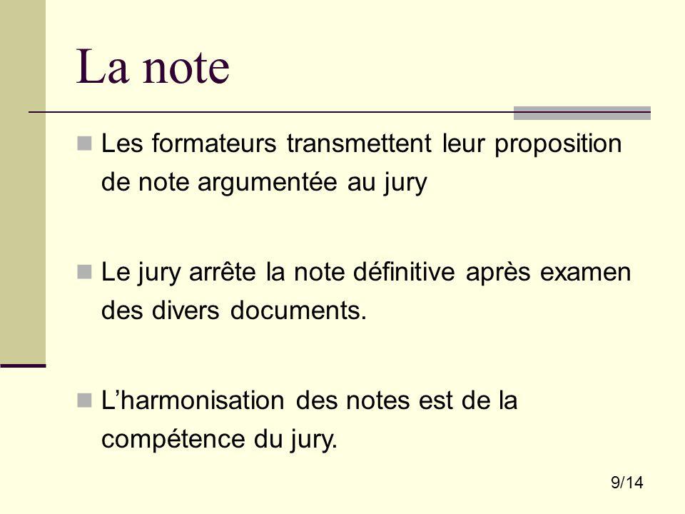9/14 La note Les formateurs transmettent leur proposition de note argumentée au jury Le jury arrête la note définitive après examen des divers documents.