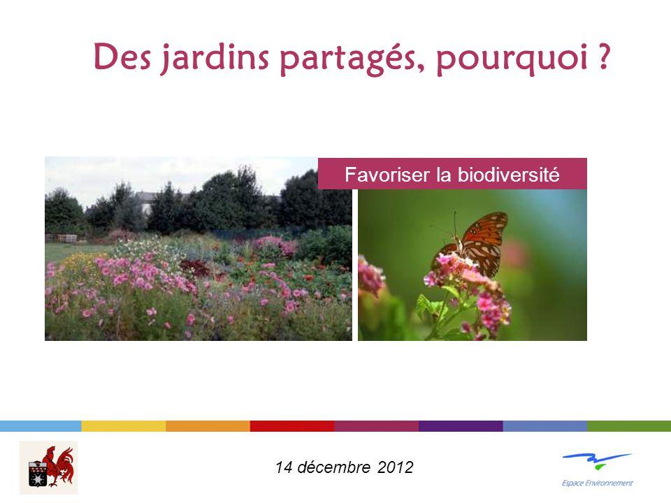 Des jardins partagés, pourquoi ? Favoriser la biodiversité 14 décembre 2012