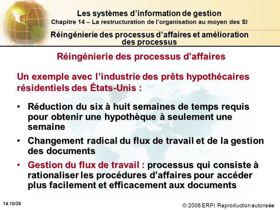 14.10/39 Les systèmes d'information de gestion Chapitre 14 – La restructuration de l'organisation au moyen des SI © 2006 ERPI.
